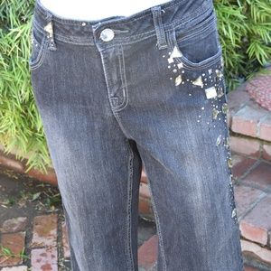 WOMEN'S CACHE JEANS EMBELLISHED SZ 10 BLACK SEXY